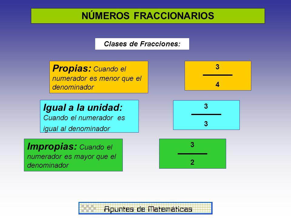NÚMEROS FRACCIONARIOS Clases de Fracciones: Propias: Cuando el numerador es menor que el denominador Igual a la unidad: Cuando el numerador es igual al denominador Impropias: Cuando el numerador es mayor que el denominador 3434 3 3232