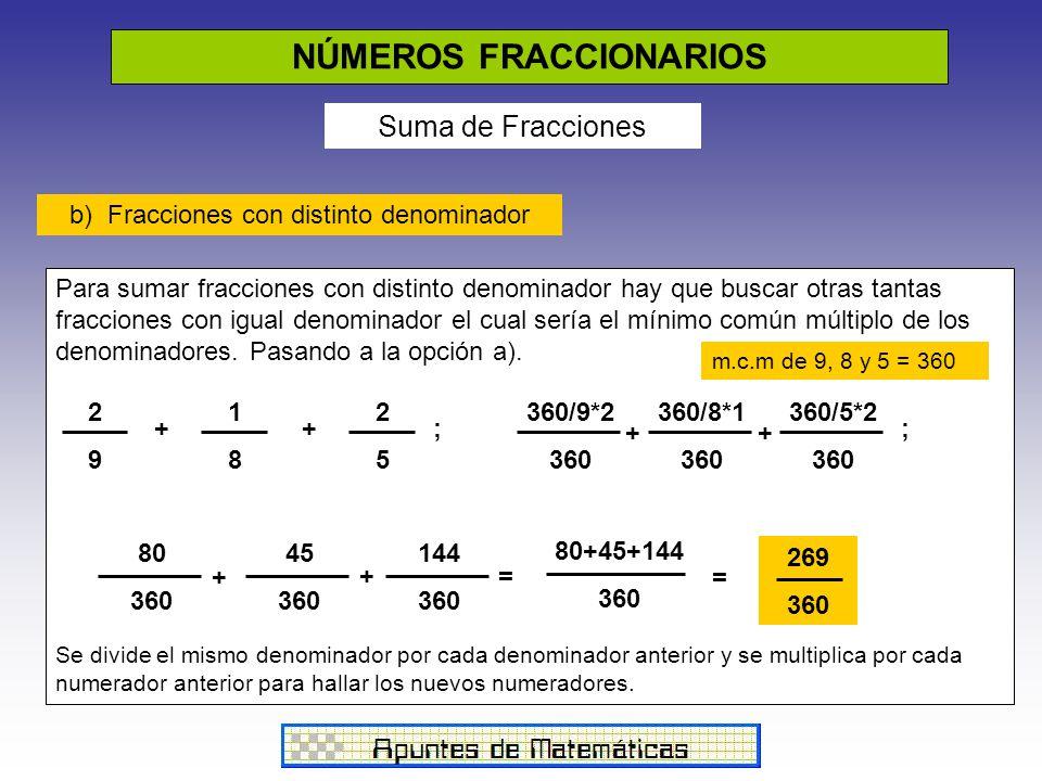 NÚMEROS FRACCIONARIOS Suma de Fracciones b) Fracciones con distinto denominador Para sumar fracciones con distinto denominador hay que buscar otras tantas fracciones con igual denominador el cual sería el mínimo común múltiplo de los denominadores.