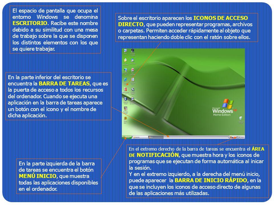 El espacio de pantalla que ocupa el entorno Windows se denomina ESCRITORIO. Recibe este nombre debido a su similitud con una mesa de trabajo sobre la
