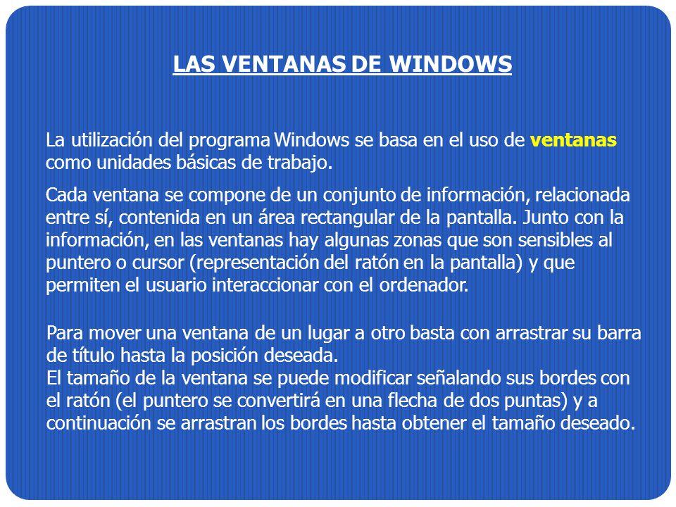 LAS VENTANAS DE WINDOWS La utilización del programa Windows se basa en el uso de ventanas como unidades básicas de trabajo. Cada ventana se compone de