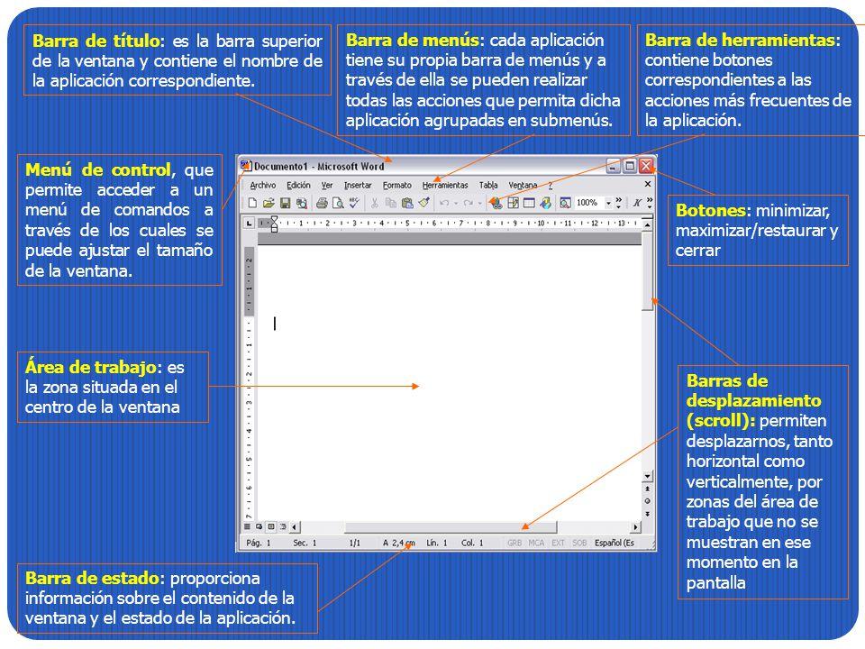 Barra de título: es la barra superior de la ventana y contiene el nombre de la aplicación correspondiente. Botones: minimizar, maximizar/restaurar y c