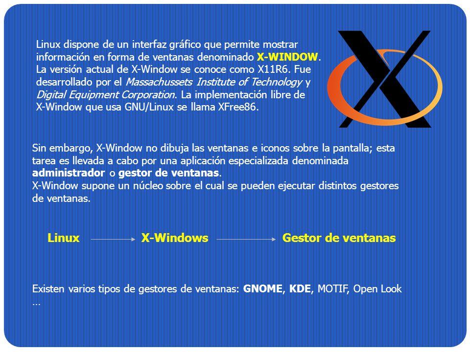 Sin embargo, X-Window no dibuja las ventanas e iconos sobre la pantalla; esta tarea es llevada a cabo por una aplicación especializada denominada admi