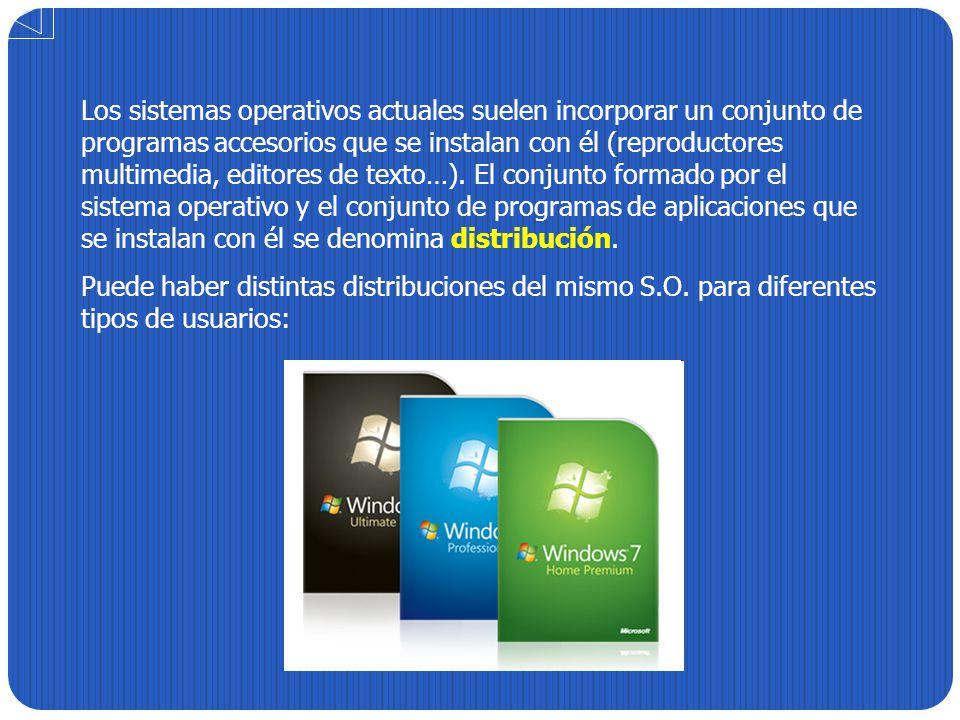 Los sistemas operativos actuales suelen incorporar un conjunto de programas accesorios que se instalan con él (reproductores multimedia, editores de t