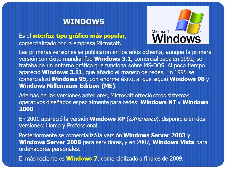 WINDOWS Es el interfaz tipo gráfico más popular, comercializado por la empresa Microsoft. Las primeras versiones se publicaron en los años ochenta, au