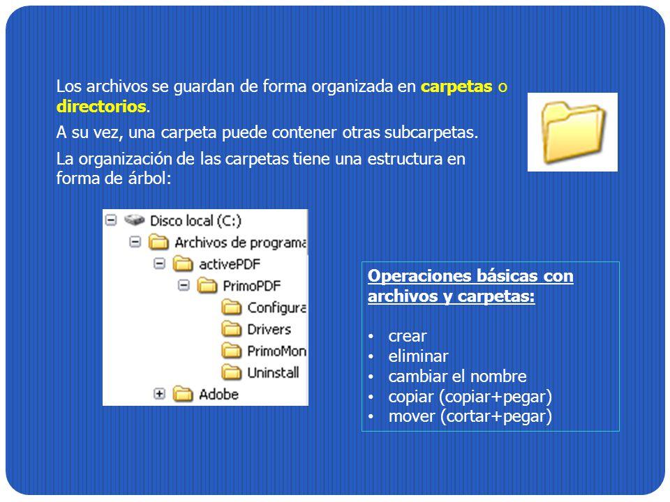 Los archivos se guardan de forma organizada en carpetas o directorios. A su vez, una carpeta puede contener otras subcarpetas. La organización de las
