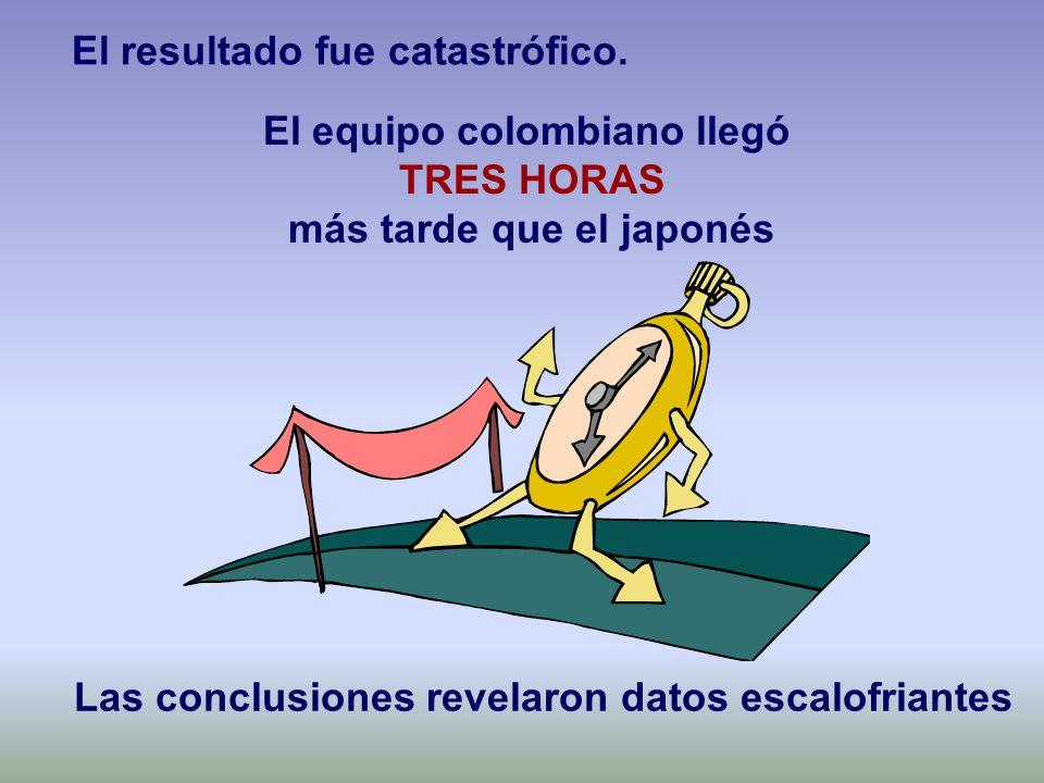 El equipo colombiano llegó TRES HORAS más tarde que el japonés Las conclusiones revelaron datos escalofriantes El resultado fue catastrófico.