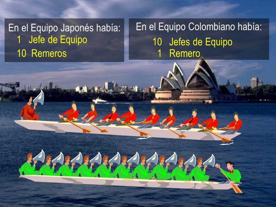 En el Equipo Japonés había: En el Equipo Colombiano había: 1 Jefe de Equipo 10 Remeros 10 Jefes de Equipo 1 Remero