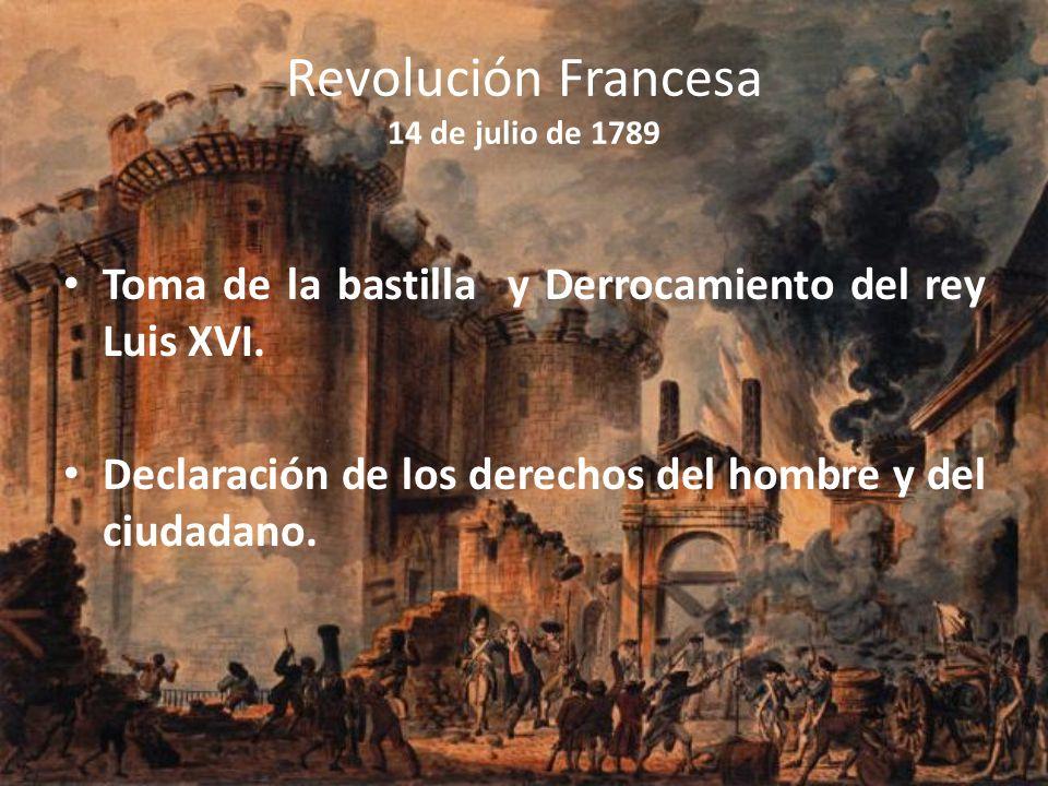 Revolución Francesa 14 de julio de 1789 Toma de la bastilla y Derrocamiento del rey Luis XVI. Declaración de los derechos del hombre y del ciudadano.