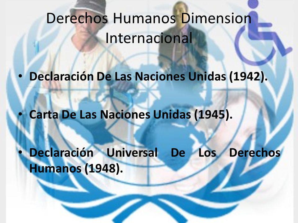 Derechos Humanos Dimension Internacional Declaración De Las Naciones Unidas (1942). Carta De Las Naciones Unidas (1945). Declaración Universal De Los