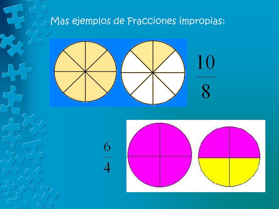 Mas ejemplos de Fracciones impropias: