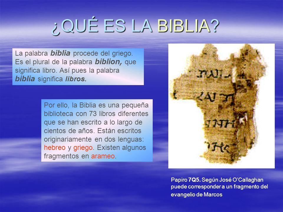 ¿QUÉ ES LA BIBLIA? Papiro 7Q5. Según José OCallaghan puede corresponder a un fragmento del evangelio de Marcos La palabra biblia procede del griego. E