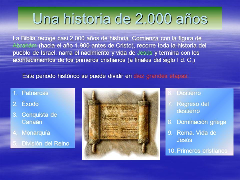 Una historia de 2.000 años La Biblia recoge casi 2.000 años de historia. Comienza con la figura de Abrahám (hacia el año 1.900 antes de Cristo), recor