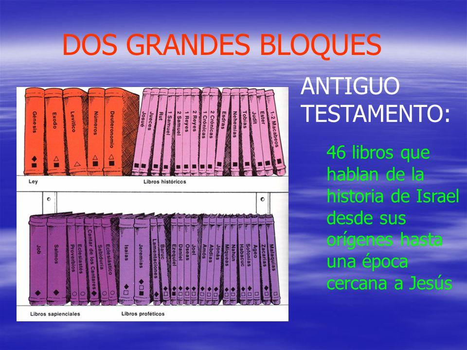 DOS GRANDES BLOQUES 46 libros que hablan de la historia de Israel desde sus orígenes hasta una época cercana a Jesús ANTIGUO TESTAMENTO:
