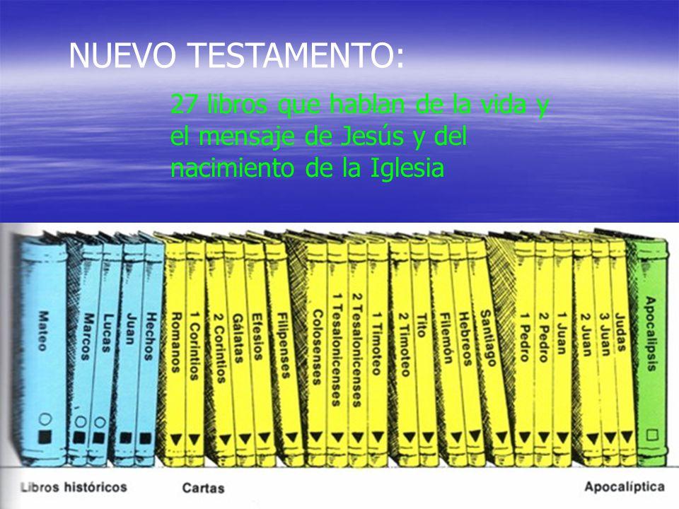 27 libros que hablan de la vida y el mensaje de Jesús y del nacimiento de la Iglesia NUEVO TESTAMENTO: