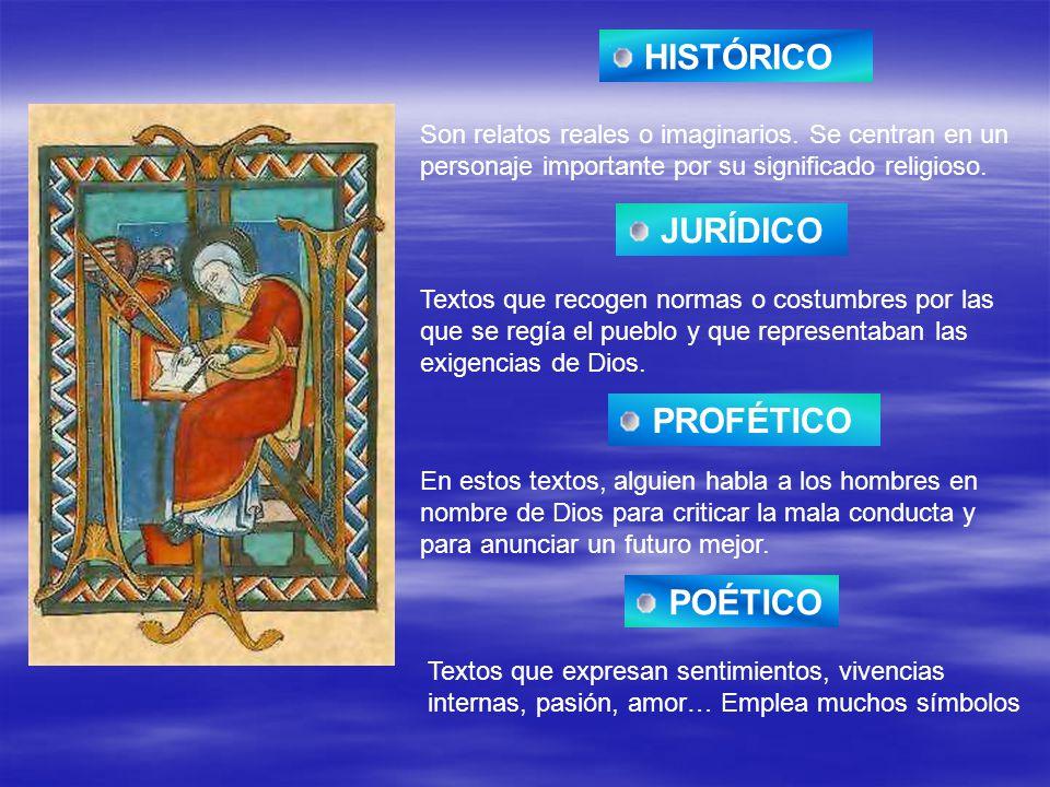 HISTÓRICO Son relatos reales o imaginarios. Se centran en un personaje importante por su significado religioso. JURÍDICO Textos que recogen normas o c