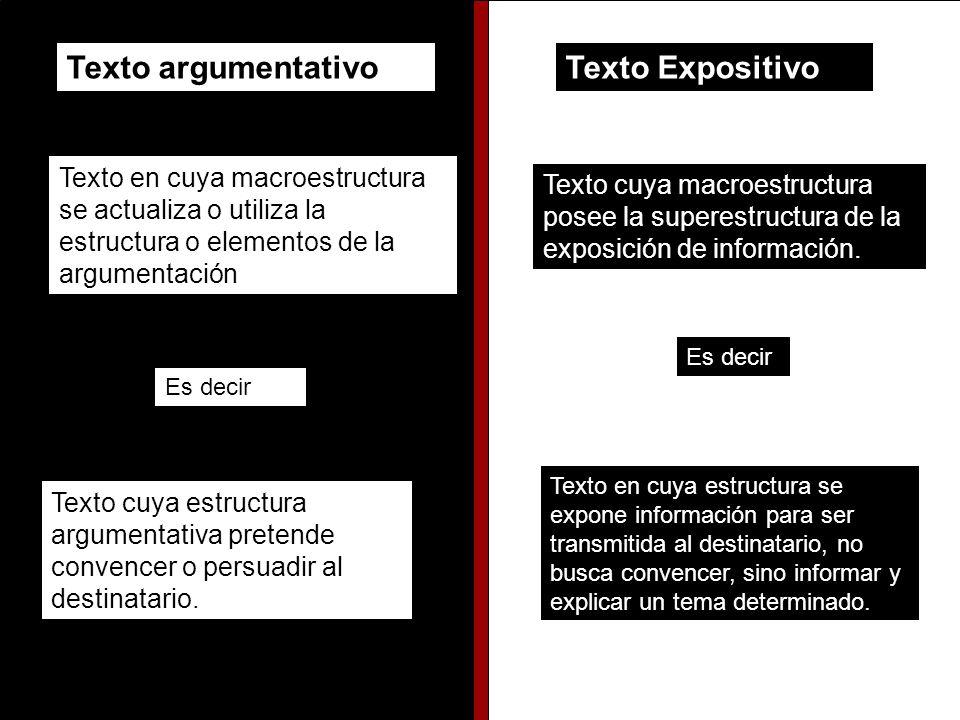 Texto argumentativoTexto Expositivo Texto en cuya macroestructura se actualiza o utiliza la estructura o elementos de la argumentación Es decir Texto cuya estructura argumentativa pretende convencer o persuadir al destinatario.
