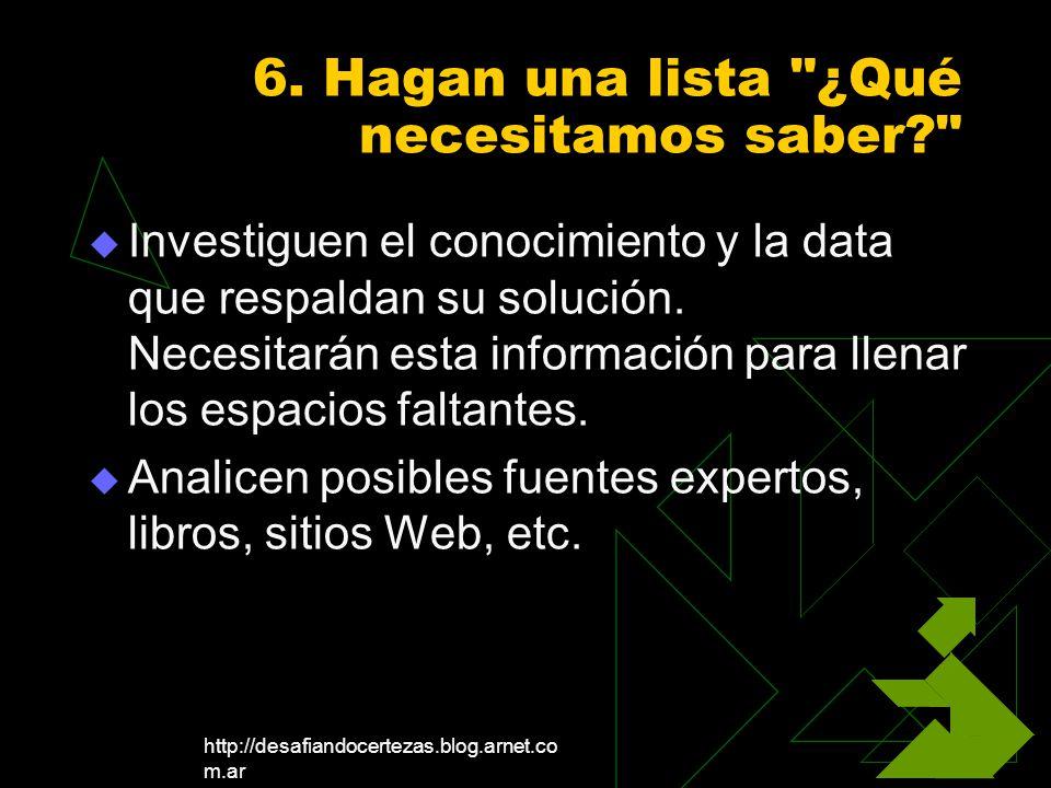 http://desafiandocertezas.blog.arnet.co m.ar 6. Hagan una lista