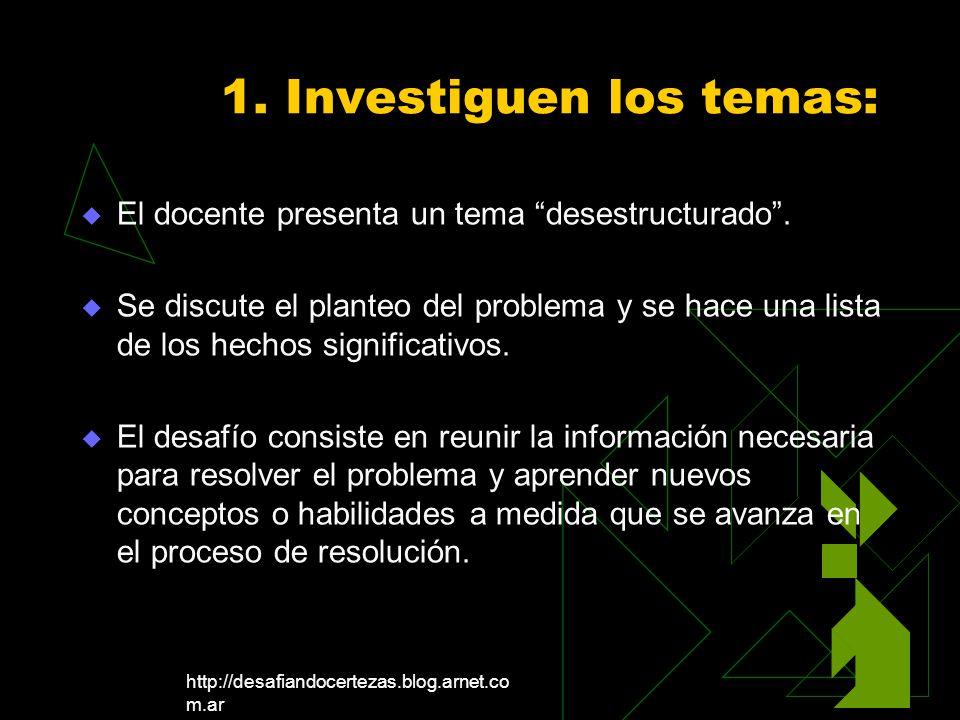 http://desafiandocertezas.blog.arnet.co m.ar 1. Investiguen los temas: El docente presenta un tema desestructurado. Se discute el planteo del problema