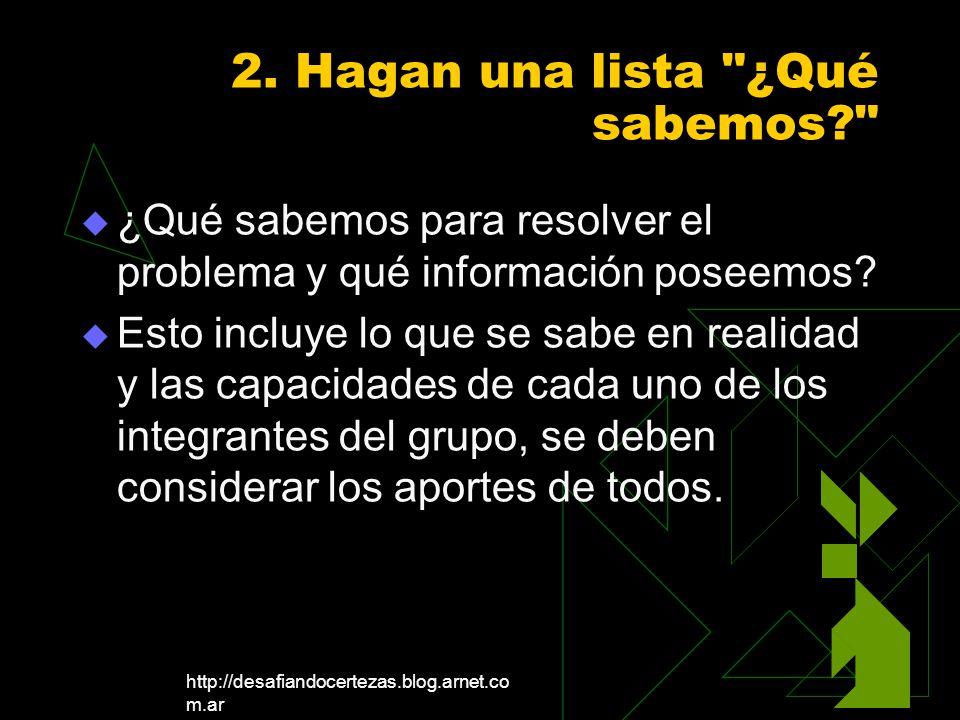 http://desafiandocertezas.blog.arnet.co m.ar 2. Hagan una lista