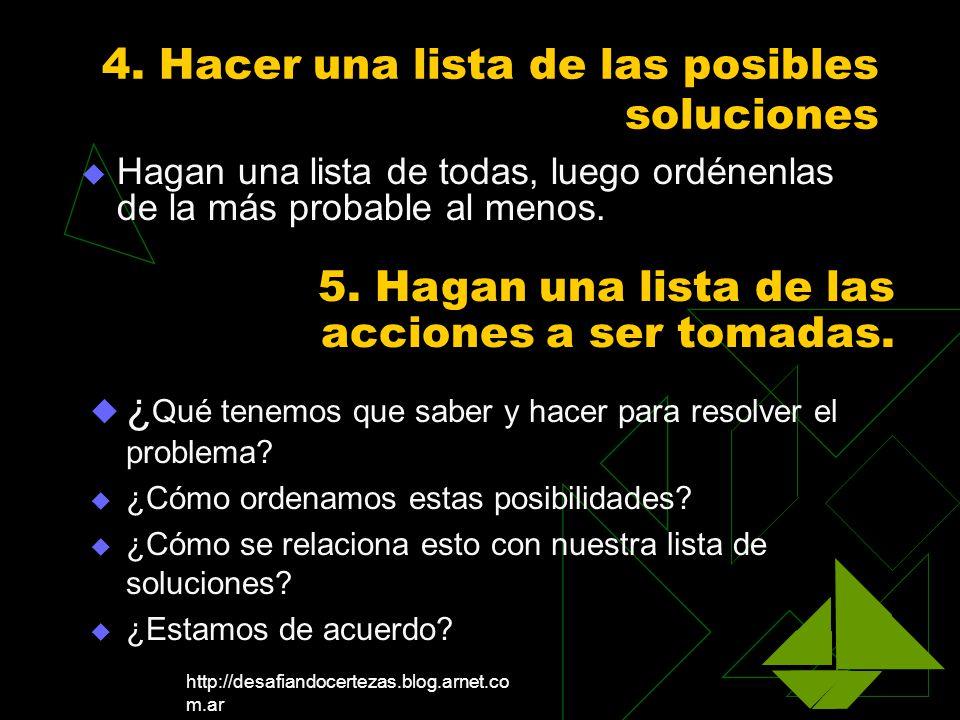 http://desafiandocertezas.blog.arnet.co m.ar 4. Hacer una lista de las posibles soluciones Hagan una lista de todas, luego ordénenlas de la más probab