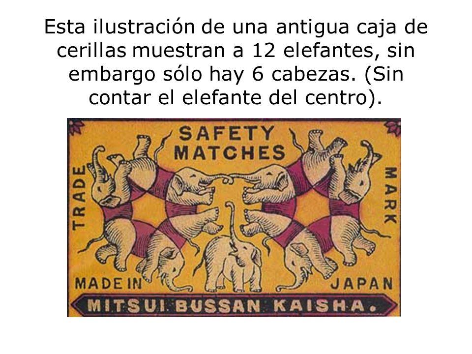 Esta ilustración de una antigua caja de cerillas muestran a 12 elefantes, sin embargo sólo hay 6 cabezas. (Sin contar el elefante del centro).