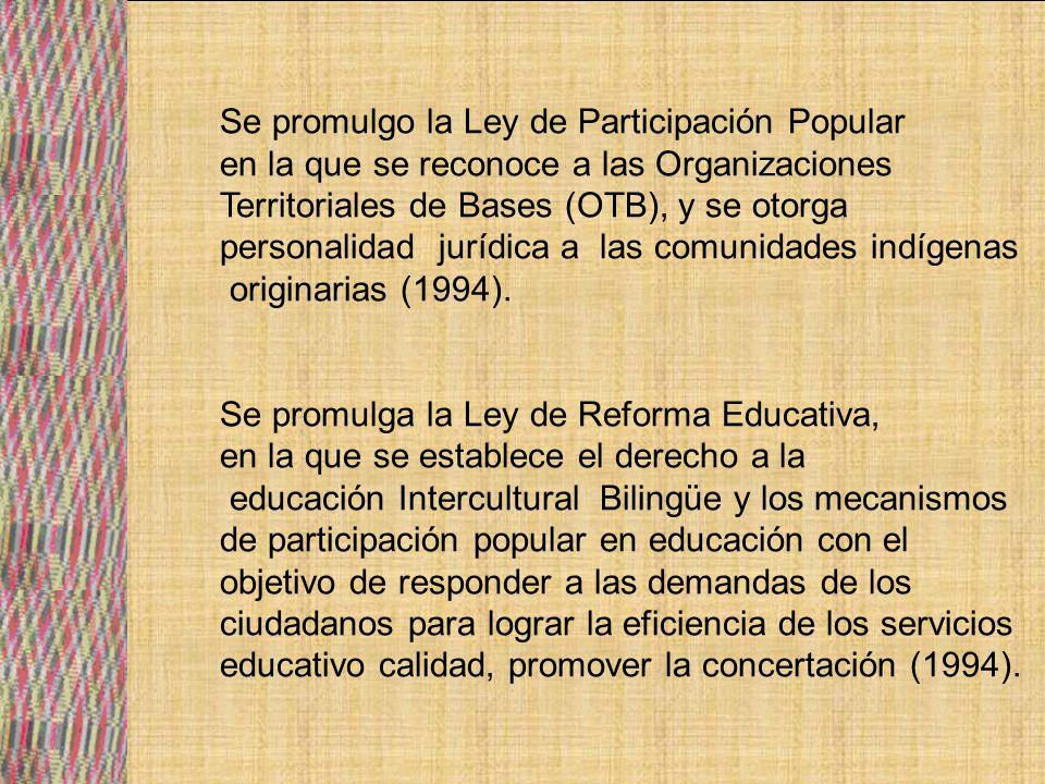 Con la ley de Reforma Educativa se organizan las Juntas escolares, Juntas de Núcleos, Subdistritales, Distritales, consejos y juntas municipales, CODED, los CEPOS, consejo nacional de educación y el congreso Nacional d e Educación.