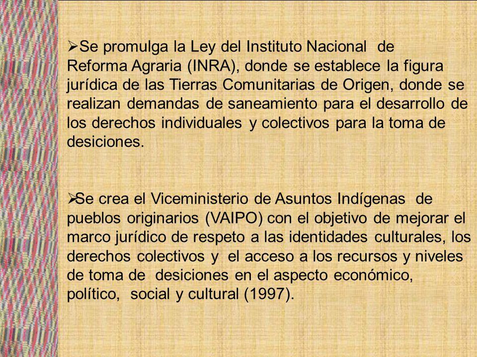 En el marco de la reforma educativa se crearon los Consejos educativos: Guaraní, Quechua, Aymará y Amazónico Multiétnico (1998).