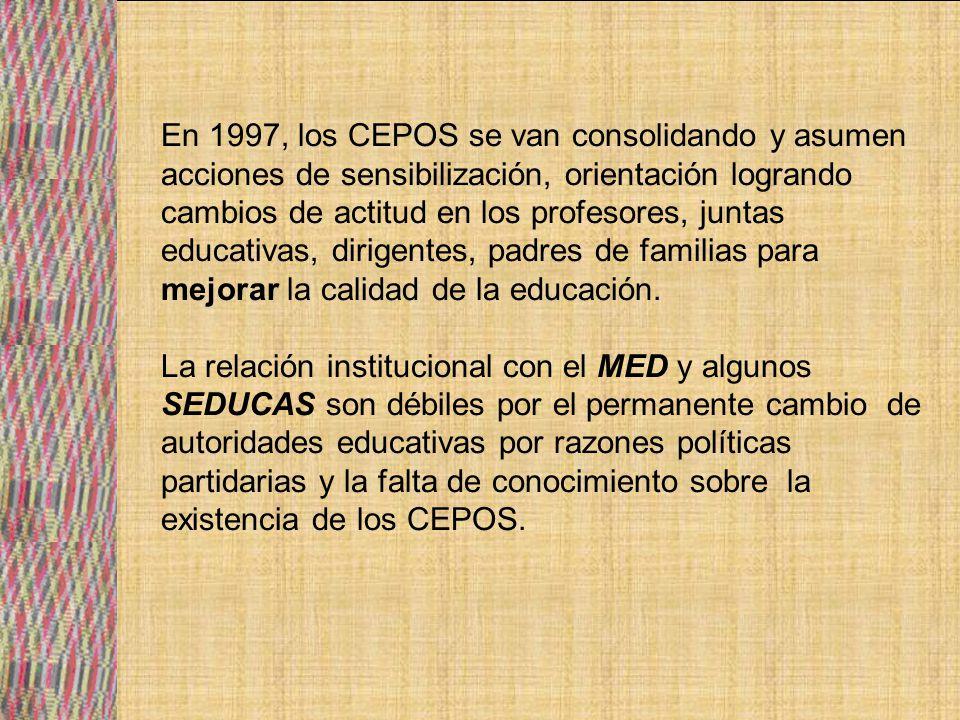 Pese a la poca incidencia política los CEPOS han contribuido en definición de líneas de acción relacionada a la EIB y la participación social en educación en nivel primario y formación docente.