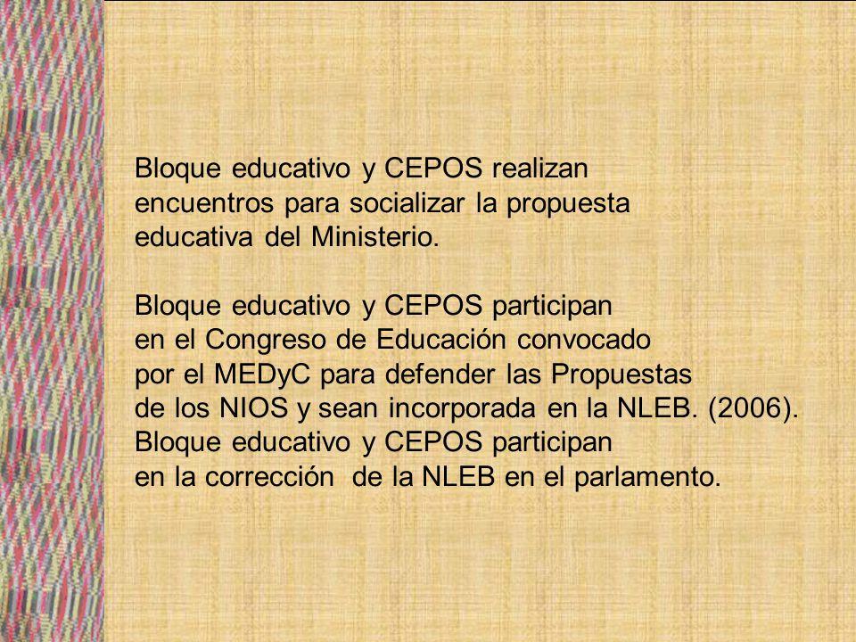 CEPOS trabajan en la elaboración de reglamento para el funcionamiento del Sistema educativo plurinacional de la NLEB en sus cuatro pilares: Organización curricular, Administración y Gestión de la educación, Apoyo técnico recursos y servicios, participación comunitaria popular (social).