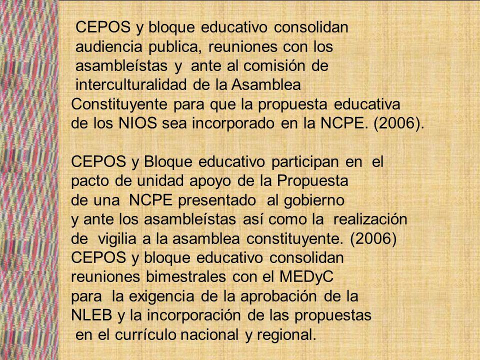 CEPOS realizan eventos con las comunidades para recoger los saberes y conocimientos de cada una de las culturas existentes con miras a plantear un currículo nacional regional.