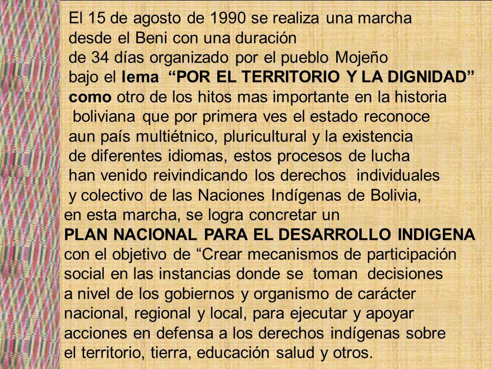 AVANCE EN EL RECONOCIMIENTO Y EJERCICIO DE DERECHOS DE LOS PUEBLOS INDIGENAS ORIGINARIOS EN BOLVIA EN PARTICPACION POLITICA SOCIAL.