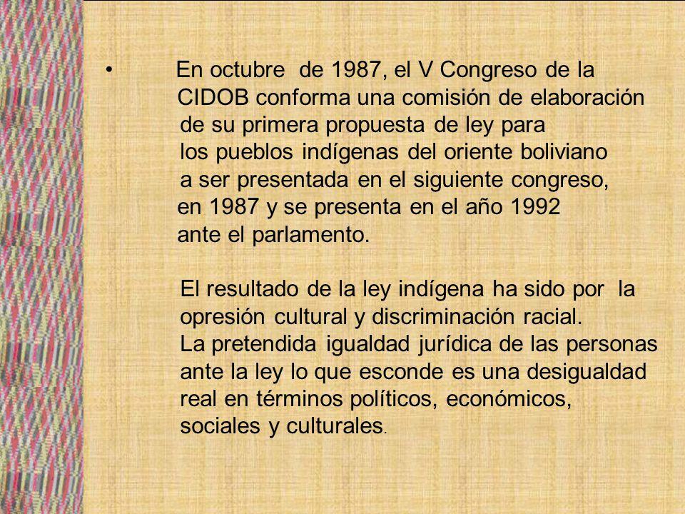 La ley Indígena asume el principio de la autonomía de los pueblos indígenas dentro de sus territorios, incorporándolos dentro de la división política administrativa del Estado boliviano.