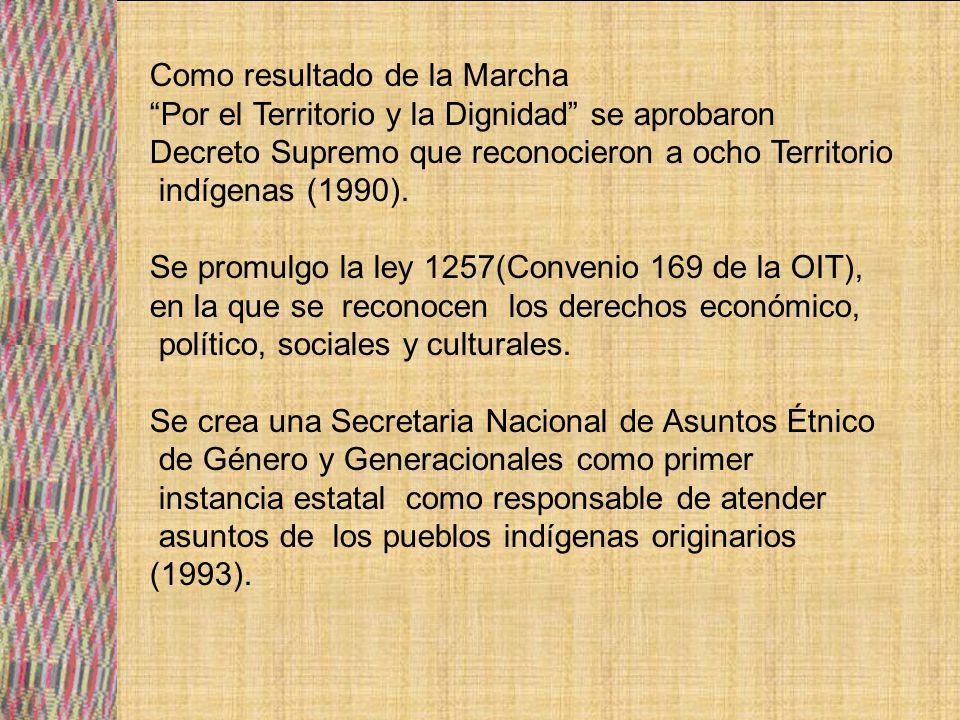 Se promulgo la Ley de Participación Popular en la que se reconoce a las Organizaciones Territoriales de Bases (OTB), y se otorga personalidad jurídica a las comunidades indígenas originarias (1994).