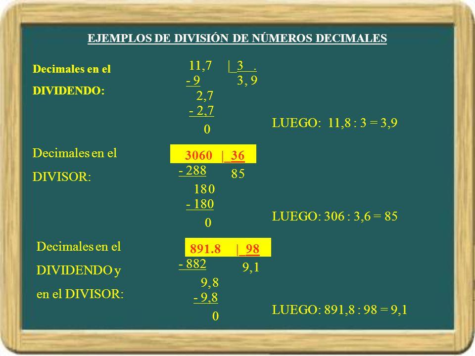 89,18 |_9,8 EJEMPLOS DE DIVISIÓN DE NÚMEROS DECIMALES Decimales en el DIVIDENDO: 11,7 |_3. 3- 9 2,7 LUEGO: 11,8 : 3 = 3,9 Decimales en el DIVISOR: 306