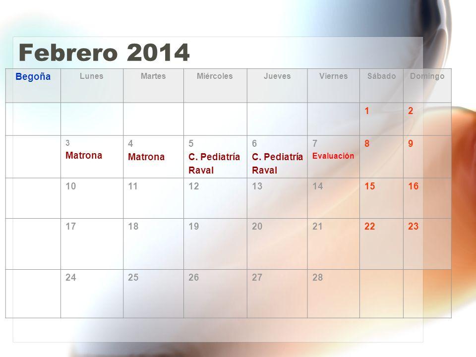 Febrero 2014 Begoña LunesMartesMiércolesJuevesViernesSábadoDomingo 12 3 Matrona 4 Matrona 5 C.