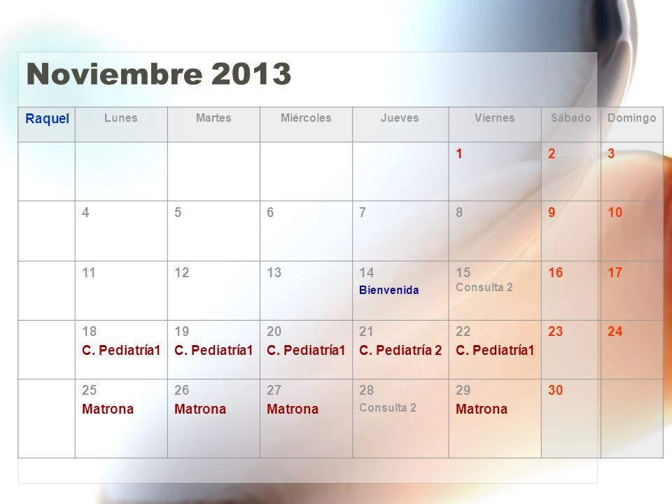Noviembre 2013 Raquel LunesMartesMiércolesJuevesViernesSábadoDomingo 123 45678910 11121314 Bienvenida 15 Consulta 2 1617 18 C.