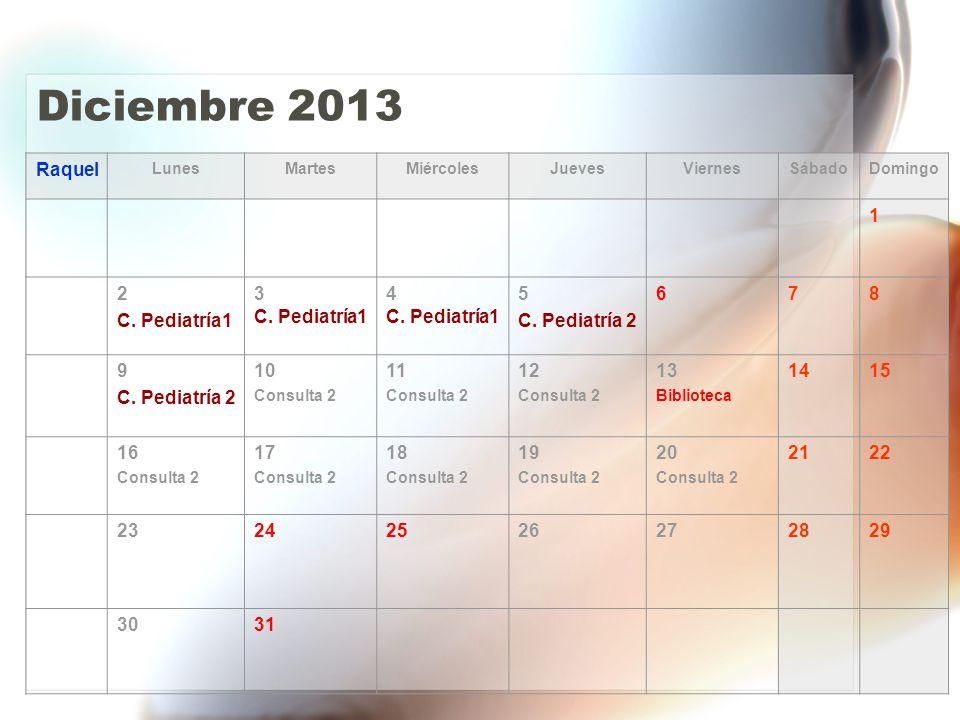 Diciembre 2013 Raquel LunesMartesMiércolesJuevesViernesSábadoDomingo 1 2 C.
