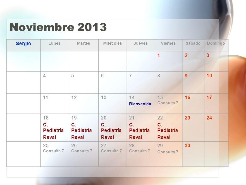 Diciembre 2013 Sergio LunesMartesMiércolesJuevesViernesSábadoDomingo 1 2 Consulta 7 3 Consulta 7 4 Consulta 7 5 Consulta 7 678 9 Matrona 10 Matrona 11 Matrona 12 C.