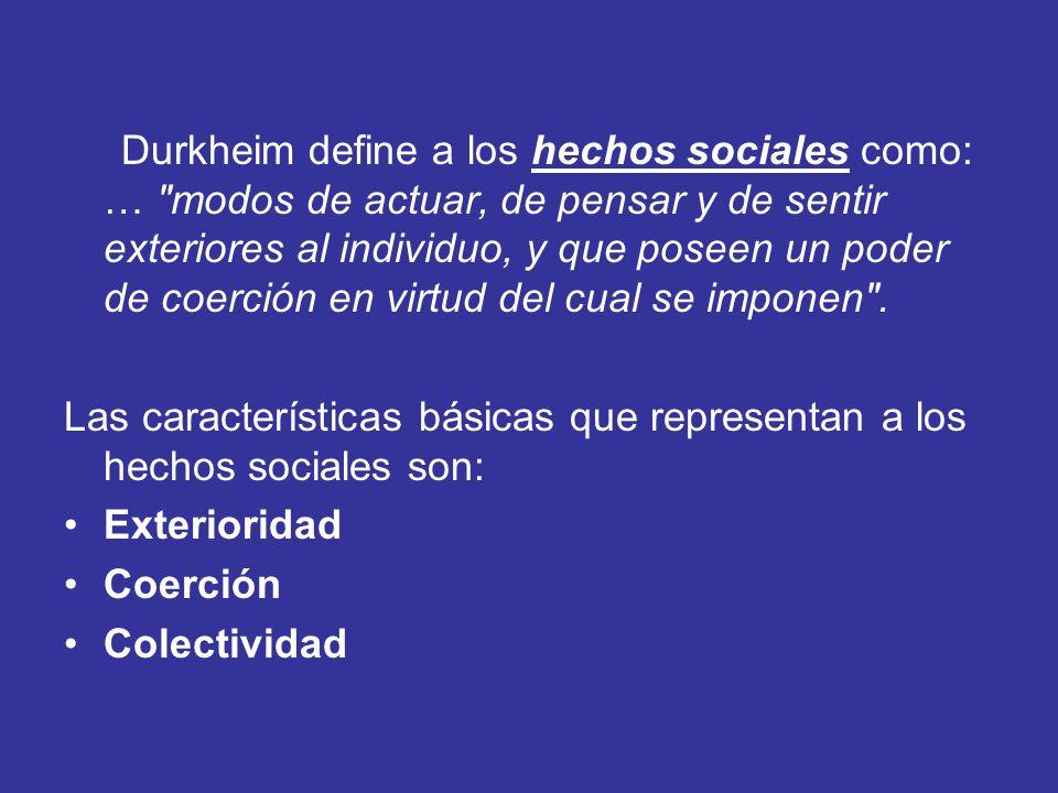 Durkheim define a los hechos sociales como: …
