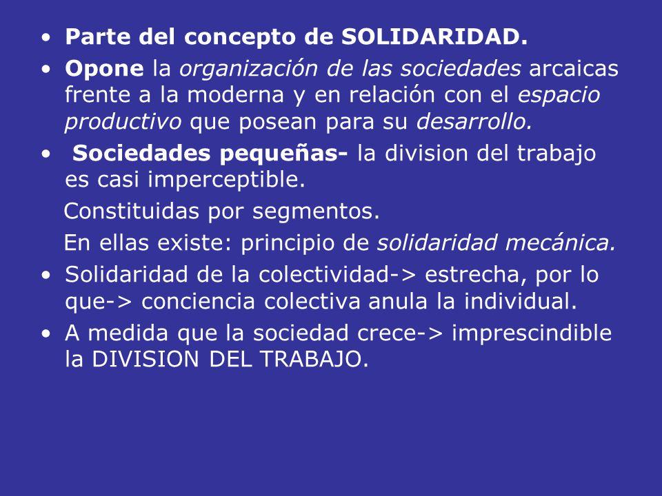 Parte del concepto de SOLIDARIDAD. Opone la organización de las sociedades arcaicas frente a la moderna y en relación con el espacio productivo que po