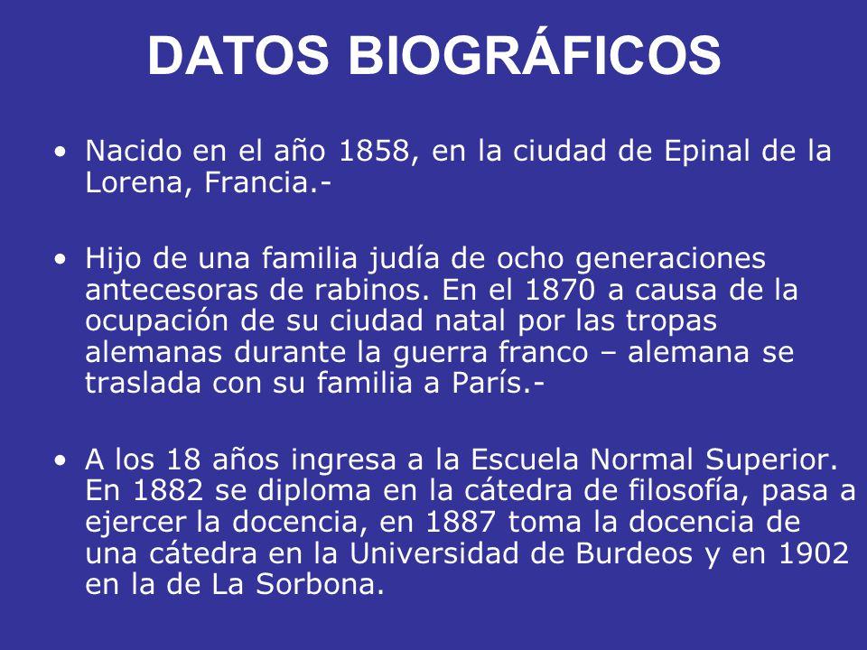 DATOS BIOGRÁFICOS Nacido en el año 1858, en la ciudad de Epinal de la Lorena, Francia.- Hijo de una familia judía de ocho generaciones antecesoras de