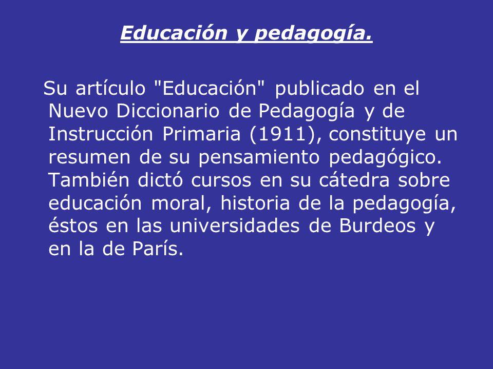 Educación y pedagogía. Su artículo