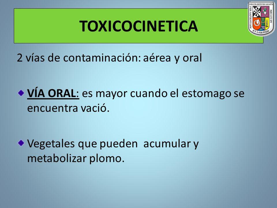 TOXICOCINETICA 2 vías de contaminación: aérea y oral VÍA ORAL: es mayor cuando el estomago se encuentra vació. Vegetales que pueden acumular y metabol
