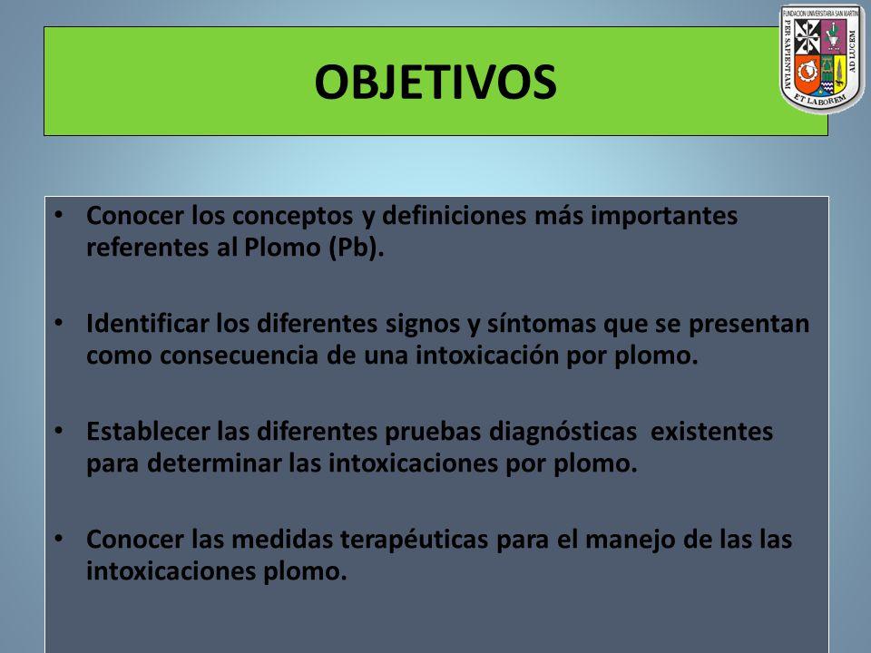 OBJETIVOS Conocer los conceptos y definiciones más importantes referentes al Plomo (Pb). Identificar los diferentes signos y síntomas que se presentan