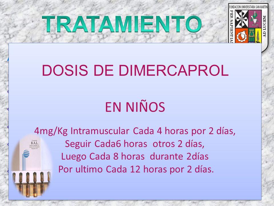 Actualmente existen cuatro quelantes para el tratamiento de la intoxicación por plomo: Edetato disódico de calcio (CaNa2EDTA), Dimercaprol D-penicilam