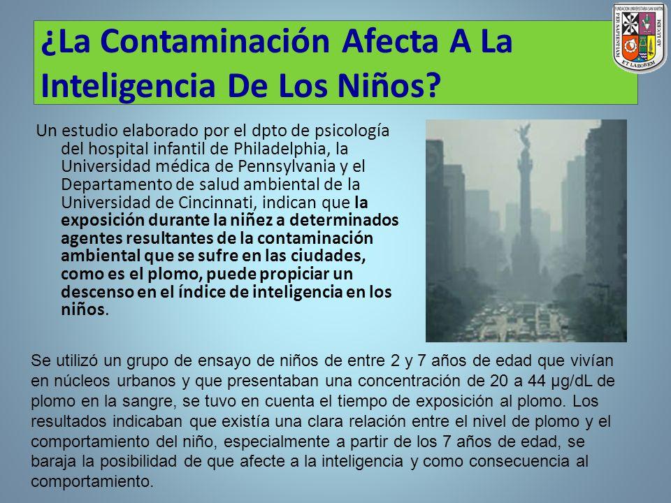 ¿La Contaminación Afecta A La Inteligencia De Los Niños? Un estudio elaborado por el dpto de psicología del hospital infantil de Philadelphia, la Univ