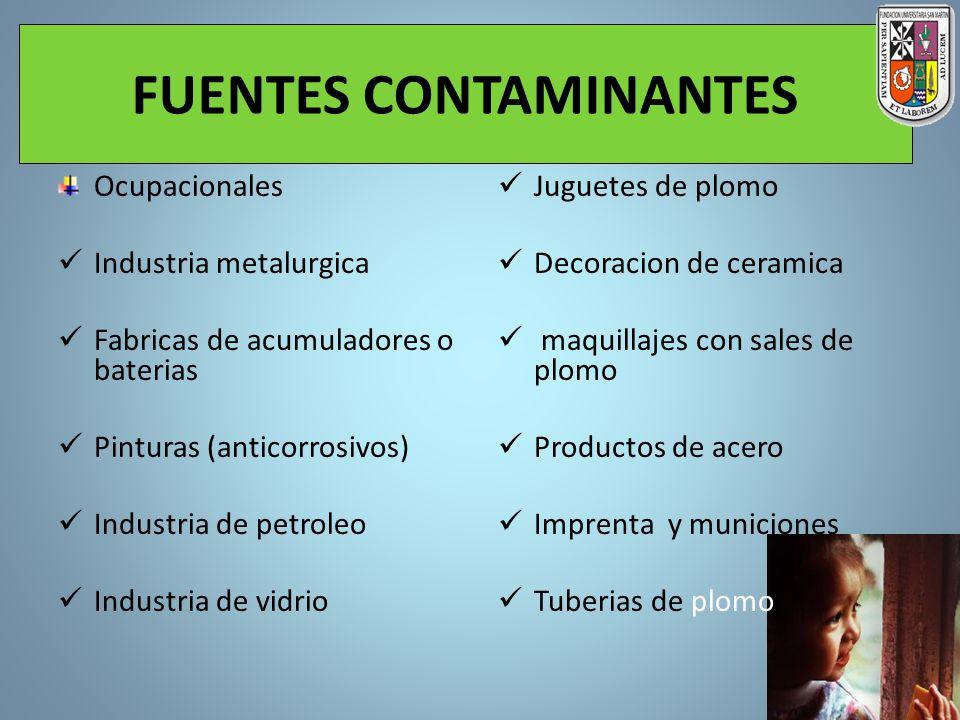 FUENTES CONTAMINANTES Ocupacionales Industria metalurgica Fabricas de acumuladores o baterias Pinturas (anticorrosivos) Industria de petroleo Industri