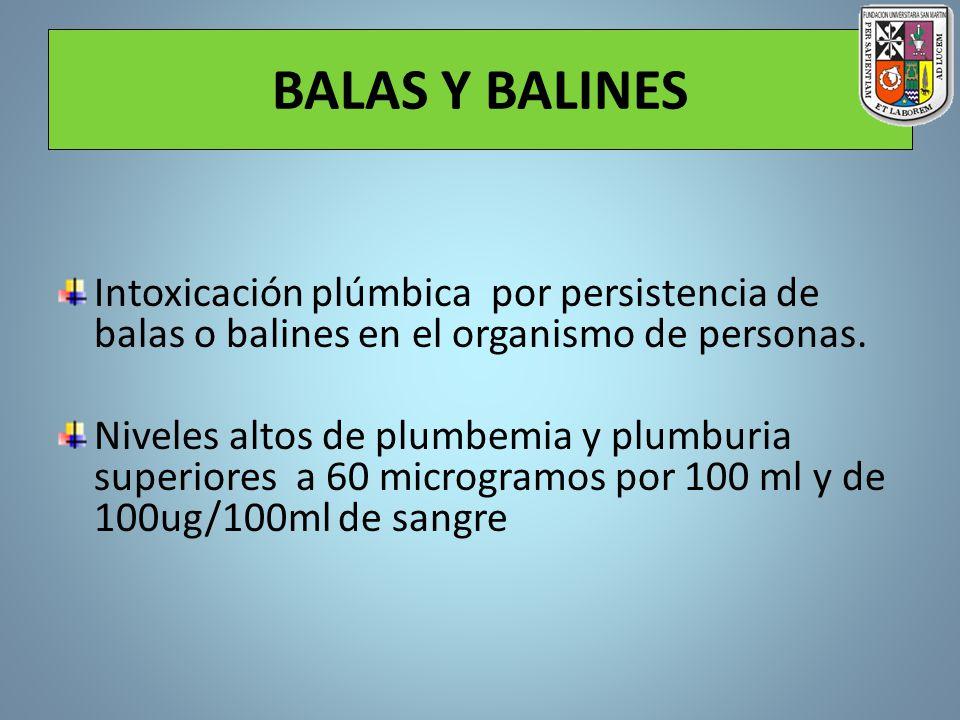 BALAS Y BALINES Intoxicación plúmbica por persistencia de balas o balines en el organismo de personas. Niveles altos de plumbemia y plumburia superior