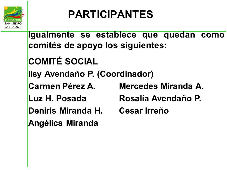 PARTICIPANTES Igualmente se establece que quedan como comités de apoyo los siguientes: COMITÉ SOCIAL Ilsy Avendaño P. (Coordinador) Carmen Pérez A.Mer