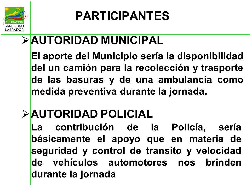 PARTICIPANTES AUTORIDAD MUNICIPAL El aporte del Municipio sería la disponibilidad del un camión para la recolección y trasporte de las basuras y de un